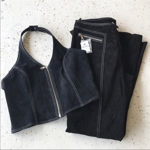 Suede leather pants and Top set